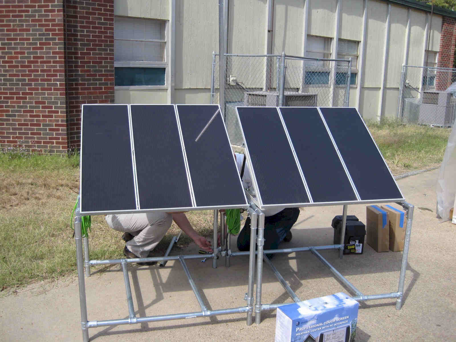 Delivering and setting up the solar panel array.
