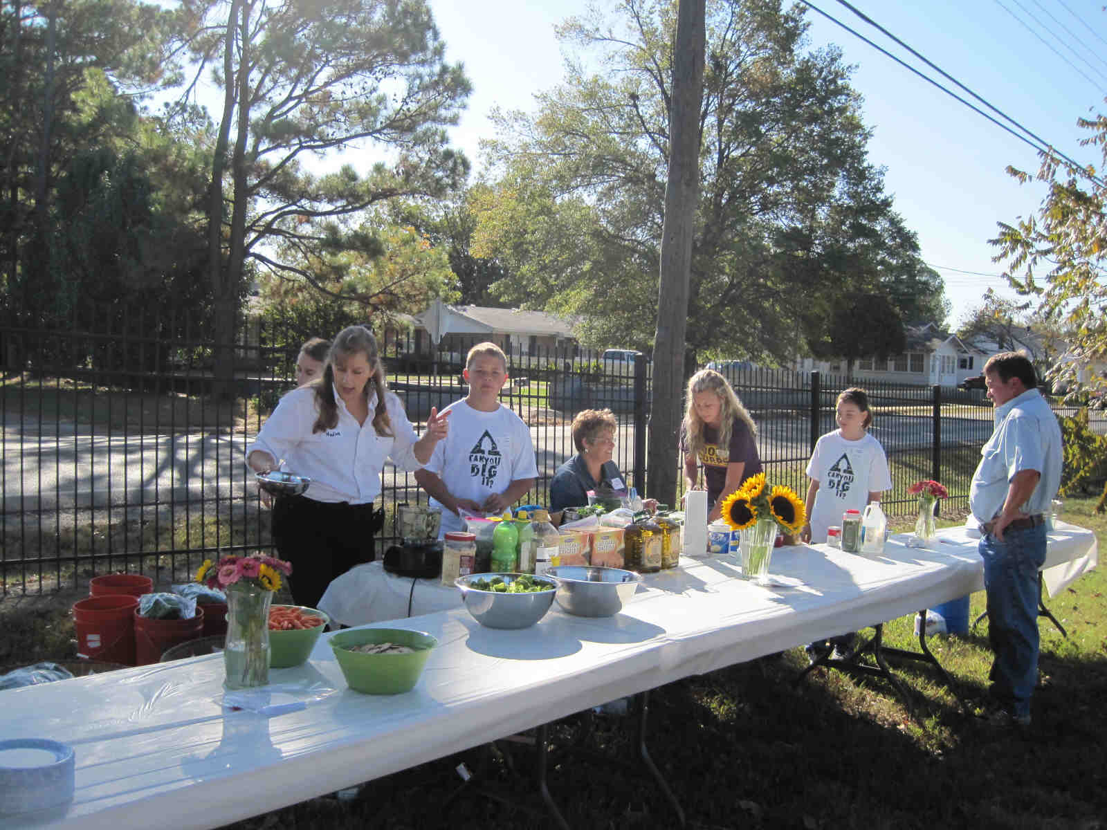 Nadine shows students how to turn their garden grown basil into great tasting pesto.